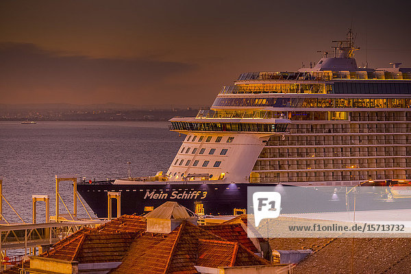 Cruise vessel Mein Schiff 3 in harbour  Alfama  Lisbon  Portugal  Europe