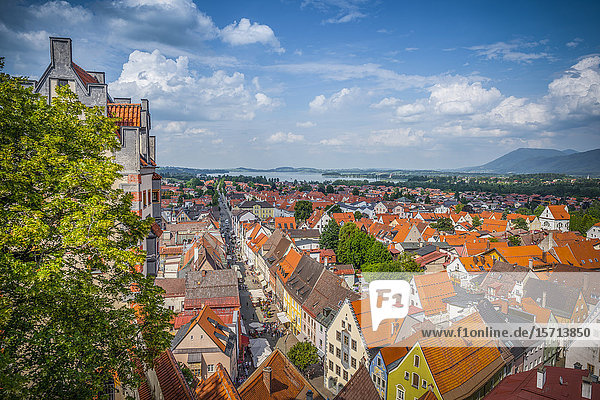 View from Hohes Schloss  Fuessen  Upper Bavaria  Germany  Europe
