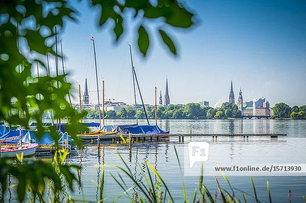 Sailing boats  Aussenalster  Hamburg  Germany  Europe
