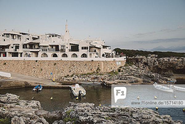 Spain  Menorca  Binibeca  Whitewashed houses and coast