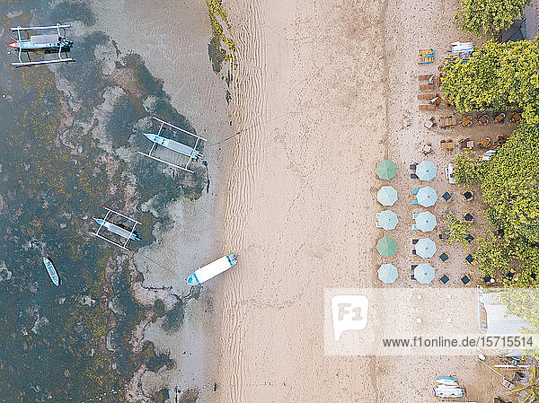 Indonesia  Bali  Sanur  Aerial view of resort beach