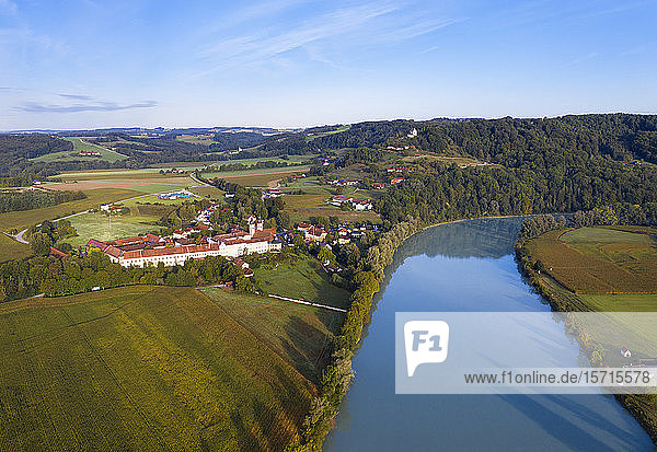 Germany  Bavaria Gars am Inn  Aerial view of river Inn andGars Abbey