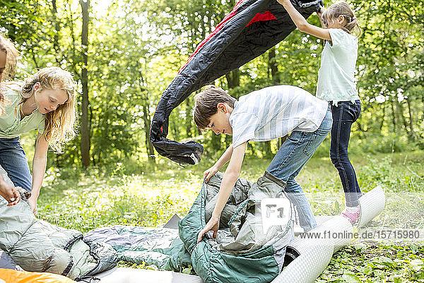 Schulkinder packen ihre Schlafsäcke aus  um im Wald zu campen