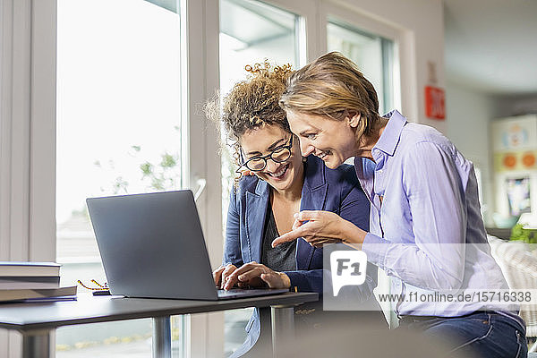 Two happy businesswomen with laptop on table at home