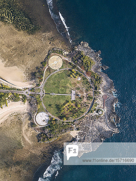 Indonesia  Bali  Nusa Dua  Aerial view of path and buildings at ocean coastline