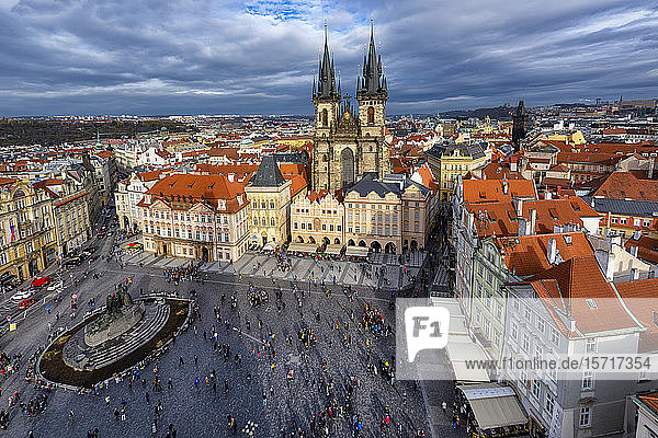 Czech Republic  Prague  Aerial view of Old Town Square
