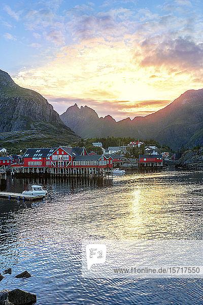 Norway  Moskenes  Lofoten Archipelago  Fishing village at sunset