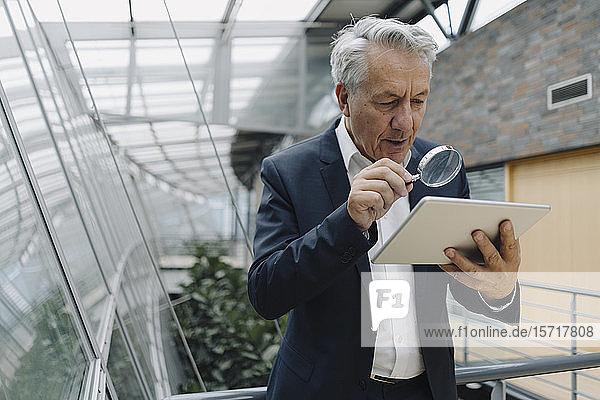 Leitender Geschäftsmann mit Lupen-Lesetablett im Büro