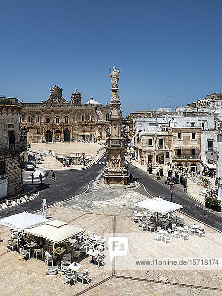 Italy  Province of Brindisi  Ostuni  Clear sky over town square and Spire of SantOronzo