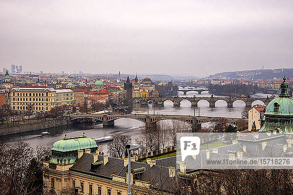 Czech Republic  Prague  High angle view of old town and river