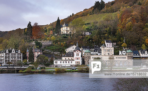 Germany  Rhineland-Palatinate  Traben-Trarbach  Riverside town in autumn