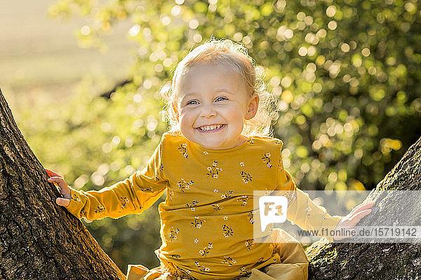 Porträt eines glücklichen blonden Kleinkindes auf einem Baumstamm sitzend