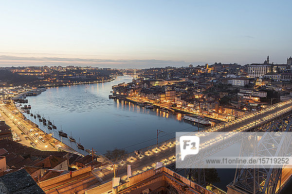 Portugal  Porto District  Porto  Aerial view of illuminated Dom Luis I Bridge at dusk