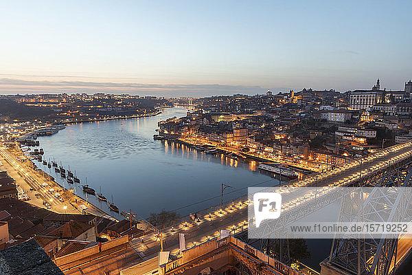 Portugal  Porto District Porto  Aerial view of illuminated Dom Luis I Bridge at dusk