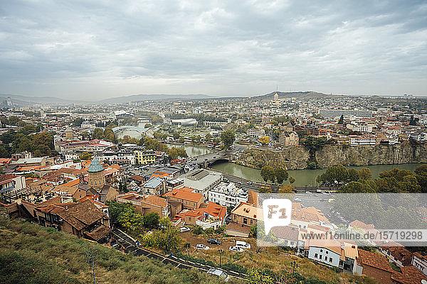 Georgia  Tbilisi  Aerial view of city