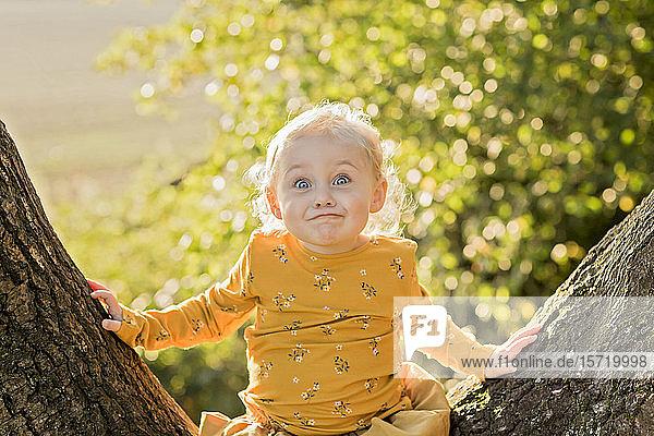 Porträt eines blonden Kleinkindes  das auf einem Baumstamm sitzt und lustige Gesichter zieht