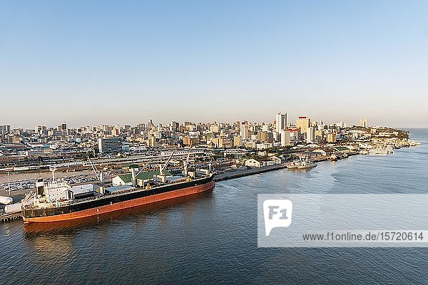 Downtown cityscape with harbour  Maputo  Mozambique  Africa