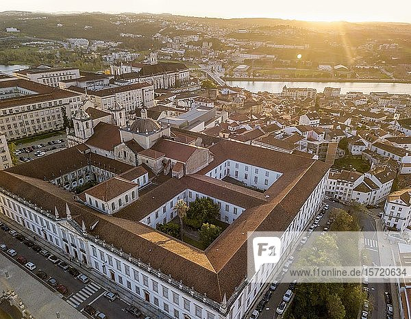 Aerial view of Coimbra university at sunset  Coimbra  Portugal  Europe