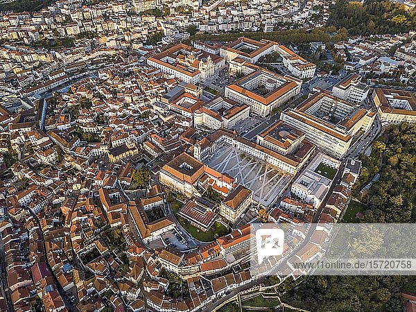 Aerial view  cityscape with Coimbra university  Coimbra  Portugal  Europe