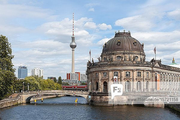 Berlin television tower Alex and Bode Museum  Museum Island  Berlin  Germany