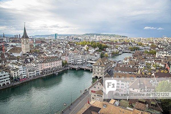 View over Zurich with church St. Peter and river Limmat  Zurich  Switzerland  Europe