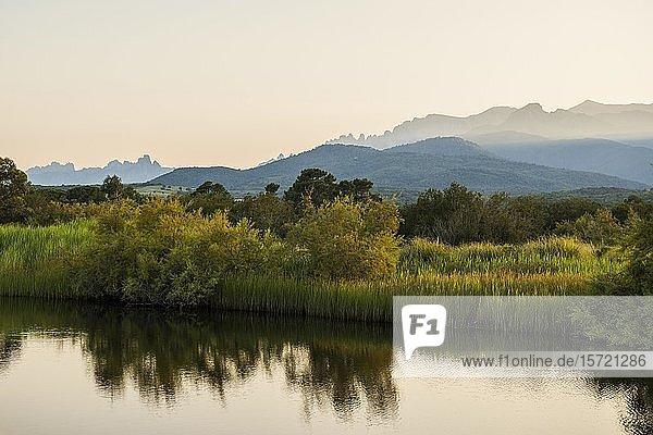 Lagune und Berge  Sonnenuntergang  Solenzara  Haute-Corse  Korsika  Frankreich  Europa