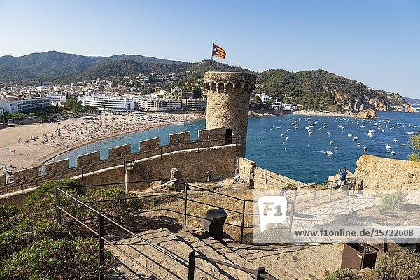 Spain  Europe  Catalonia  Costa Brava Coast  Tossa de Mar  town  Tossa castle  sunset  beach  blue  castle  coast  Costa Brava .