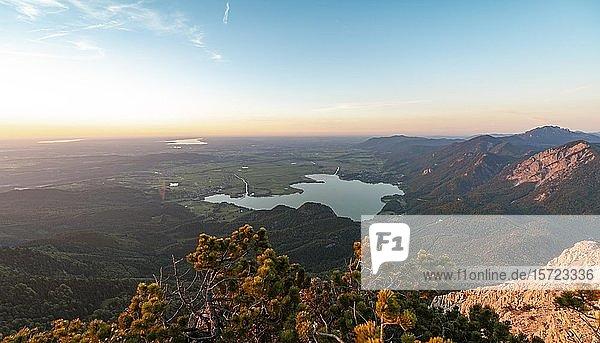 Bergpanorama  Ausblick vom Herzogstand auf Kochelsee und Alpenvorland  Sonnenuntergang  Alpen  Oberbayern  Bayern  Deutschland  Europa