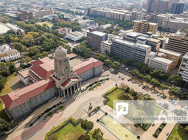 Aerial view of Tshwane city hall  Pretoria  South Africa  Africa