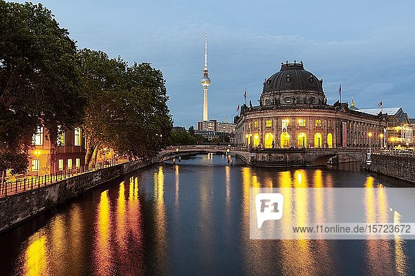 Evening atmosphere  Berlin television tower Alex and Bode Museum  Museum Island  Berlin  Germany