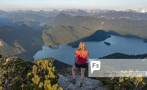 Junge Frau steht am Gipfel  Ausblick vom Herzogstand auf Walchensee und Alpen  Oberbayern  Bayern  Deutschland  Europa