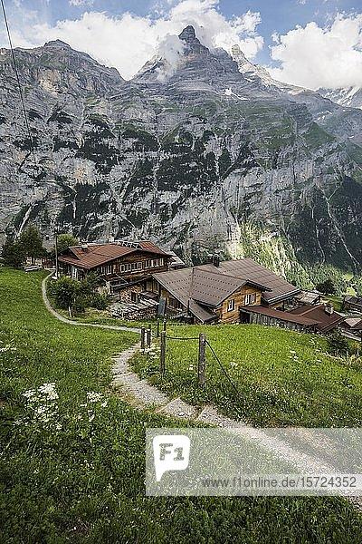 Gimmelwald  Lauterbrunnental  Lauterbrunnen  Weltnaturerbe Jungfrau-Aletsch-Bietschhorn  Kanton Bern  Berner Oberland  Schweiz  Europa