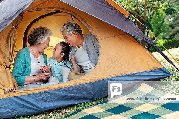 Elderly couple and granddaughter in outdoor outing