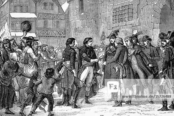 Submission of the heads of the vendée. Napoleonic wars. Antique illustration. 1890.