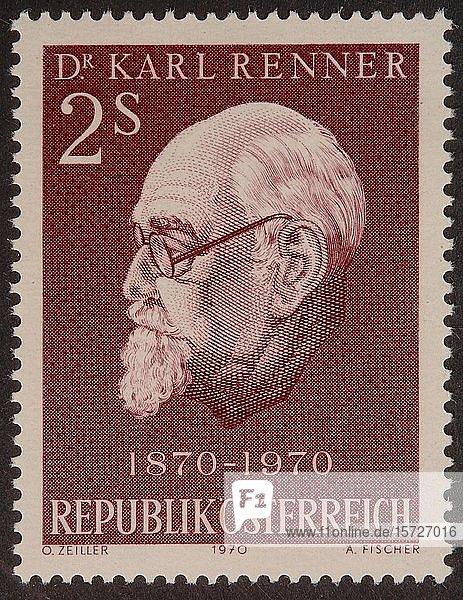Österreichische Briefmarke mit dem Porträt von Karl Renner  einem österreichischen Politiker der Sozialistischen Partei  Schweden  Europa