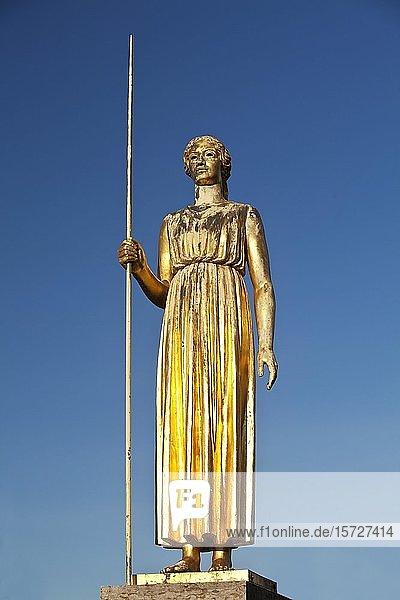 Bronzeplastik Pallas Athene  Düsseldorf  Nordrhein-Westfalen  Deutschland  Europa