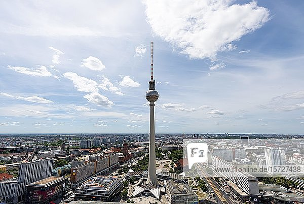 View of the Berlin television tower Alex  Berlin  Germany