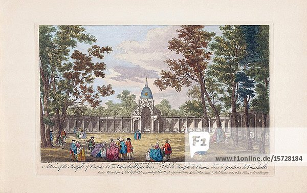 A view of the Temple of Comus &c. in Vauxhall Gardens. London  England. After a print dated 1751 from a work by Caneletto. Published by Robert Sayer. Later colourization.