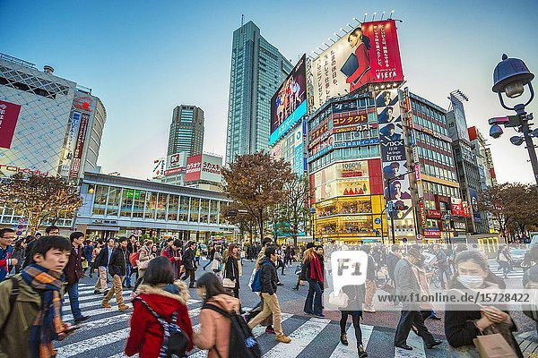 Shibuya Crossing  the busiest intersection in the World  Tokyo  Japan  Asia.