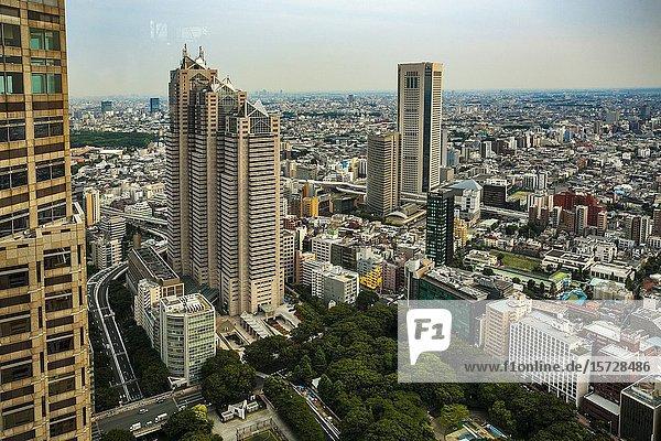 View from Tokyo Metropolitan Government Building or Tocho. Shinjuku district  Tokyo  Japan  Asia.