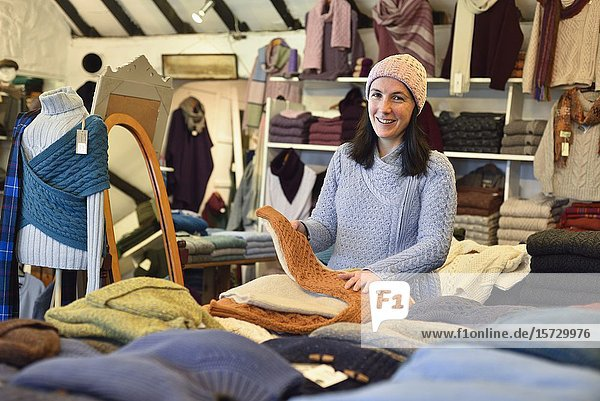 ''Cottage Handcrafts''  Irish knitwear & crafts shop  Moyard  Connemara  County Galway  Republic of Ireland  North-western Europe.