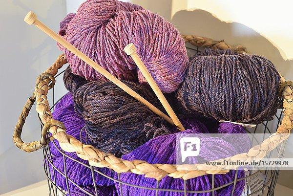 Balls of whool  ''Cottage Handcrafts''  Irish knitwear & crafts shop  Moyard  Connemara  County Galway  Republic of Ireland  North-western Europe.