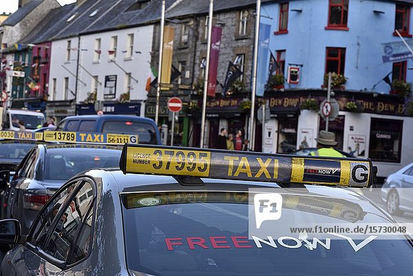 Taxi parked in Mainguard Street  Galway  Connemara  County Galway  Republic of Ireland  North-western Europe.