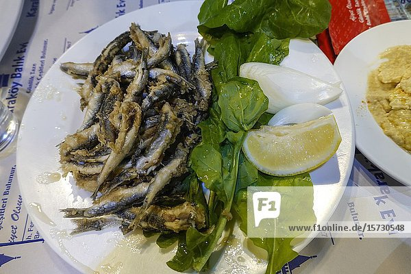 Istanbul  Turkey A plate of fried sardines at a restaurant.