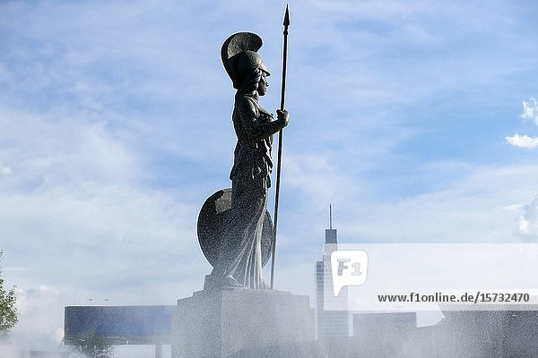 Statue of Minerva looking to the future. Guadalajara  Jalisco. Mexico.