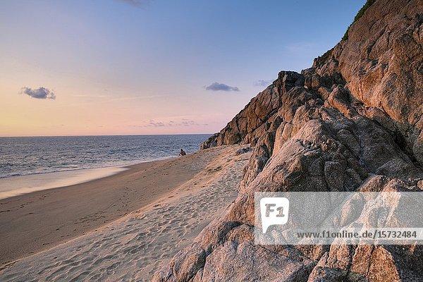 Tropical beach in a warm summer sunset. San Pancho  Nayarit. mexico.