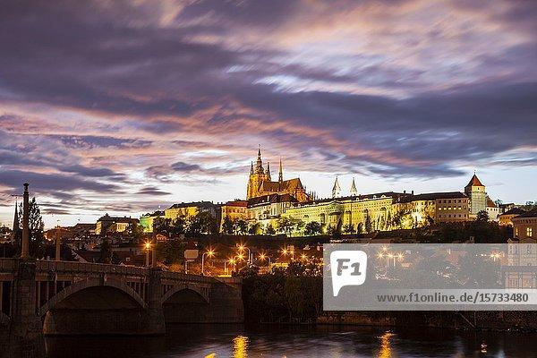 Night falls at Hradcany castle in Prague  Czechia.
