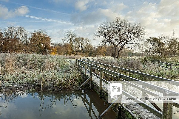 Frosty morning on river Ouse in East Sussex  England.