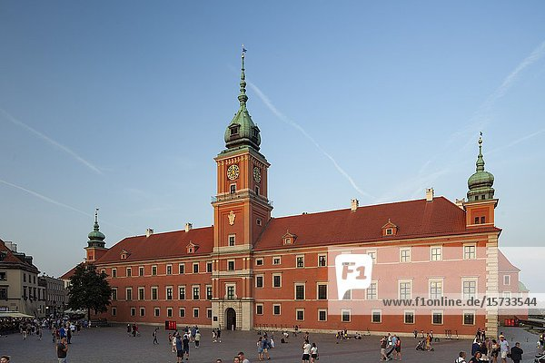 Summer evening at Royal Castle in Warsaw old town  Poland.