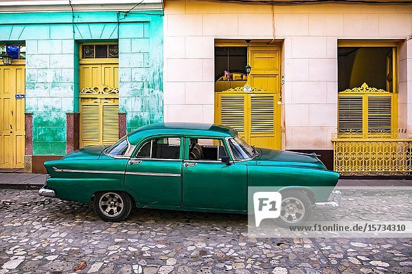 Classic car in the streets of Trinidad  Republic of Cuba  Caribbean  Central America.